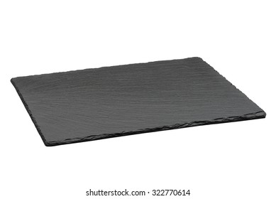 Empty black slate plate isolated on white background