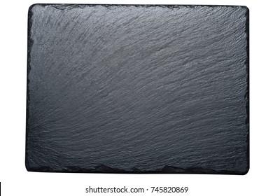 Empty black slate plate isolated on white background