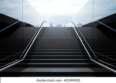 Empty black stairs in pedestrian subway with dull sky. 3D Rendering