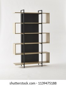 Empty Black Wood And Steel Bookshelf Isolated On White Minimalism Design Furniture