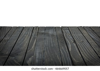 Empty black wooden table close-up