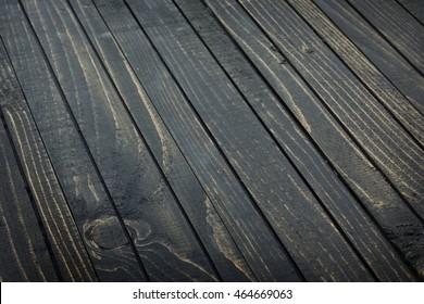 Table en bois noir vide en gros plan