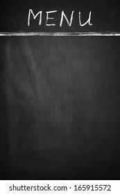 "empty Blackboard with Text ""Menu"""