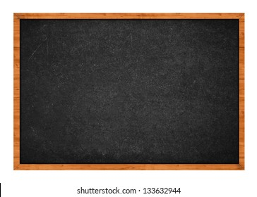 Empty blackboard with wooden frame isolated on white background