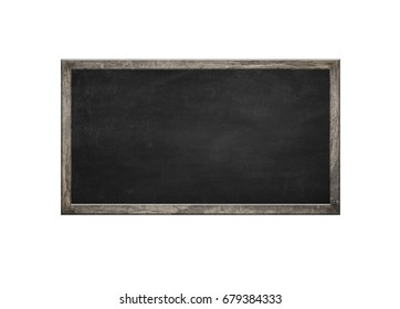 empty blackboard in wooden frame over white background