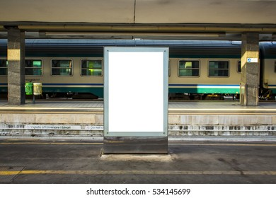 Empty blank billboard at train station - advertising public commercial, ready for new advertisement, selective focus - Shutterstock ID 534145699