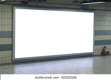 Empty blank billboard at train subway station,blank billboard - advertising public commercial,ready for new advertisement,selective focusâ?¨