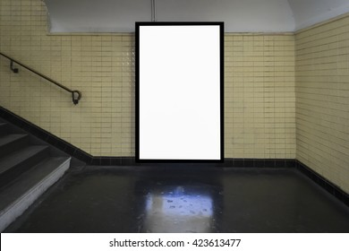 Empty blank billboard at train subway station,advertising public commercial,ready for new advertisement,selective focus