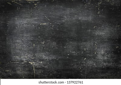 Empty blank black chalkboard with chalk traces