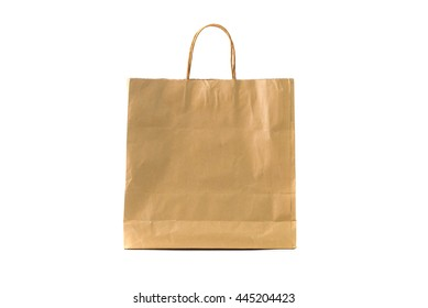Empty blank brown paper bag isolated on white background