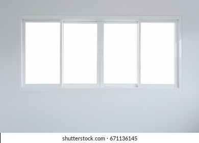 empty blank glass window sliding on white wall interior house