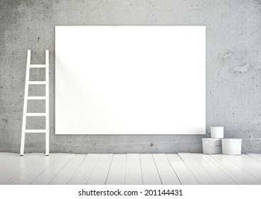 Empty blank on wall with a ladder