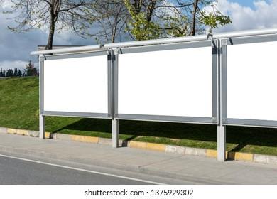 Empty / blank outdoor advertising billboards in Istanbul.