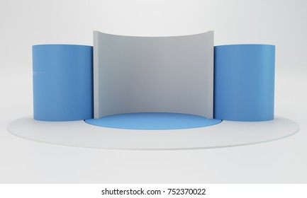 Empty blank stand booth mock-up template. 3D rendering