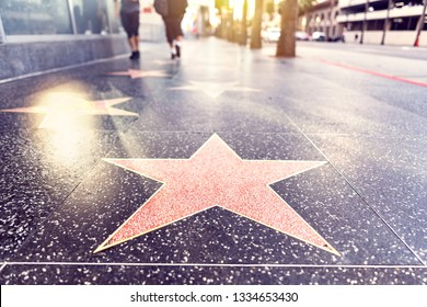 Empty blank star template on Hollywood boulevard Walk of Fame in Los Angeles, California