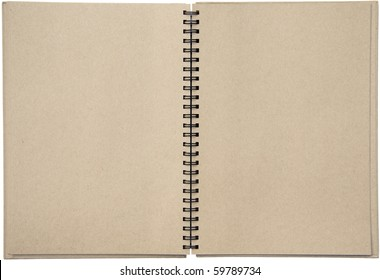 Empty blank two-page spread of a spiral bound note pad binder with tinted paper isolated on white background. Blank with copy space.