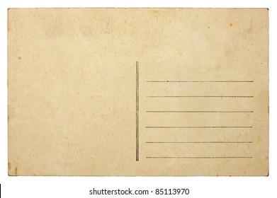 Empty blank vintage post card, 1900's