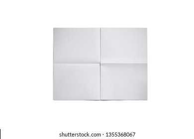 Empty blank, white expanded newspaper Mock Up, front page on isolated white background.