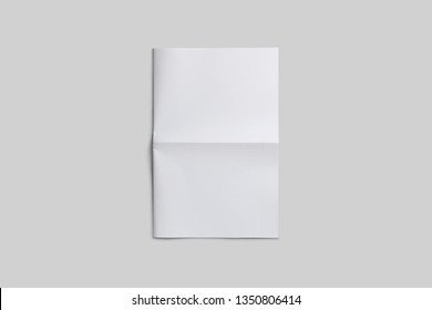 Empty, blank, white newspaper Mock up, front page on isolated grey background.