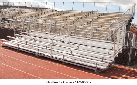 Empty Bleachers of  High School Football and track and Field Stadium