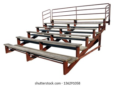 Empty bleachers or stands isolated on a white background as a symbol of school sports and fan support for small town sporting events.