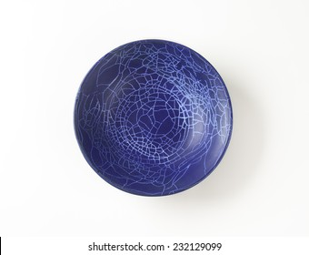empty blue bowl on white background