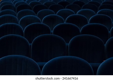 empty blue cinema or theater seats