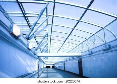 Empty blue corridor