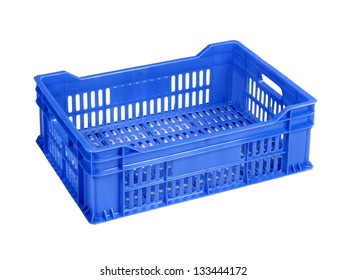 Empty blue crate, isolated on white.