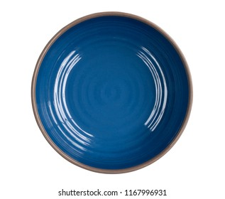 Empty blue dish,food ware,kitchen ware,ceramic plate,blanket plate,isolated on white background with clipping path