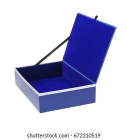 Empty Blue Gift Box on White Background