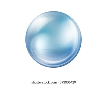 empty blue glass ball isolated on white background