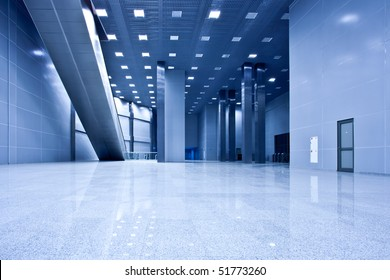 Empty blue hall in office centre