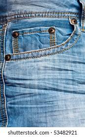 Empty blue jeans pocket