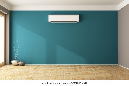 Empty blue living room with air conditioner 3d interior