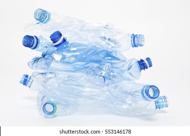 Empty blue plastic water bottles