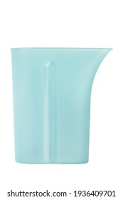 Empty blue plastic water jug isolated over white
