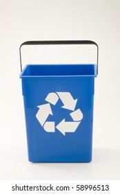 Empty blue recycling bin. White background.