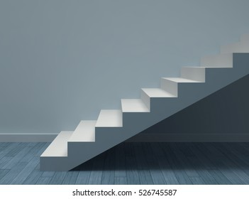 Empty blue room with white stairs. 3D rendering