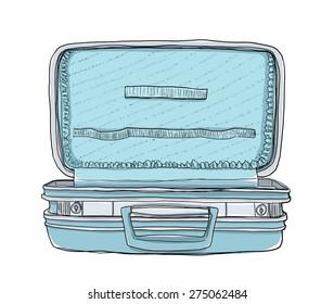 Empty blue suitcase vintage art  cute
