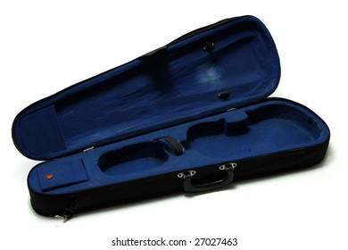 Empty blue violin case, isolated on white