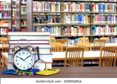 an empty blurry library in the school for education concept