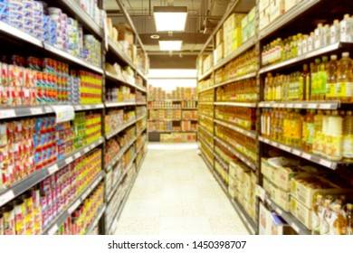 Empty  blurry supermarket convenience store product shelf for background