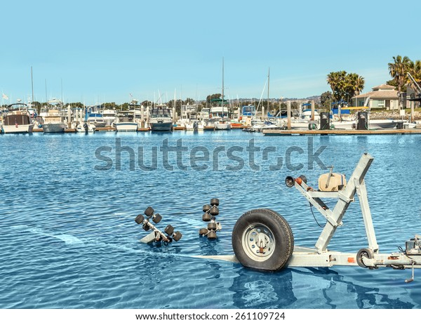 Empty Boat Trailer Water Harbor Used Stock Photo Edit Now