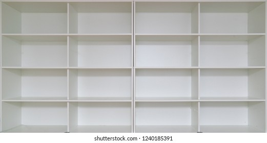 empty book case. Empty shelves, blank Bookcase library