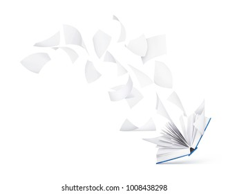 empty book with flying pages isolated on white background
