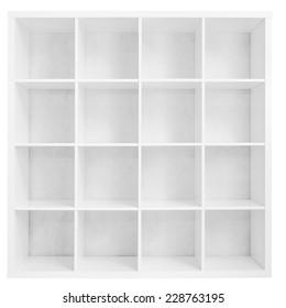 Empty bookshelf or store rack isolated