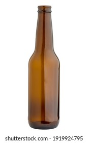 Empty bottle of beer on a white background