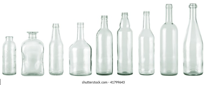 empty bottles collection, colorless, isolated