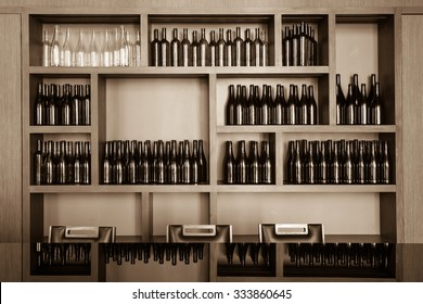 empty bottles decorative on the shelf